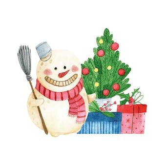 Aquarel tekening kerst compositie sneeuwpop kerstboom kerstcadeaus