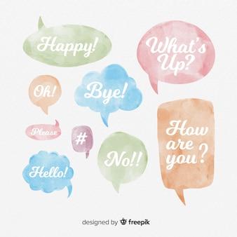 Aquarel tekstballonnen met verschillende uitdrukkingen