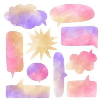 Aquarel tekstballonnen set