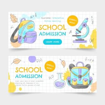 Aquarel terug naar school banners set