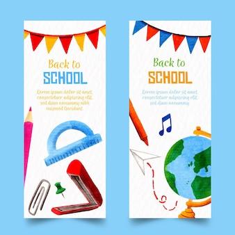 Aquarel terug naar school banners