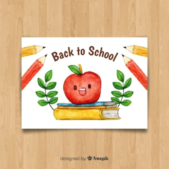 Aquarel terug naar school kaartsjabloon