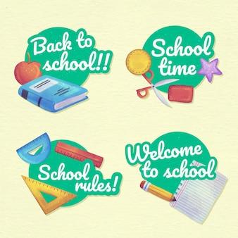 Aquarel terug naar school labels collectie