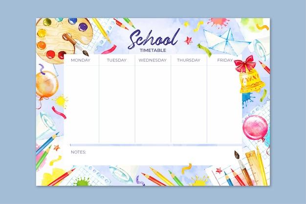 Aquarel terug naar school tijdschema sjabloon