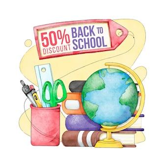 Aquarel terug naar school verkoopbanner