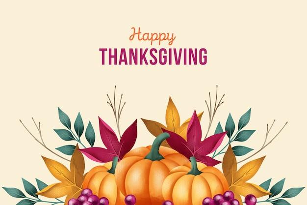 Aquarel thanksgiving achtergrond met pompoenen