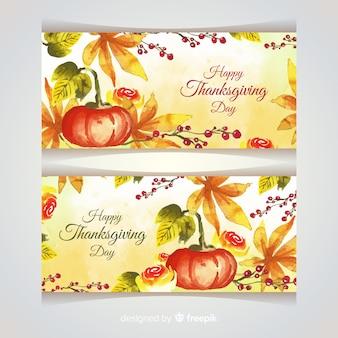 Aquarel thanksgiving banners sjabloon
