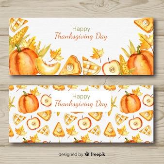 Aquarel thanksgiving day banner set
