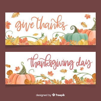 Aquarel thanksgiving day banner set