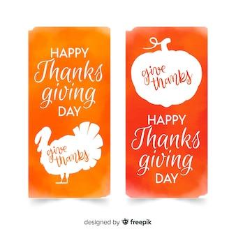 Aquarel thanksgiving day kaart collectie