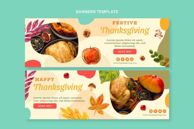 Aquarel thanksgiving horizontale banners set