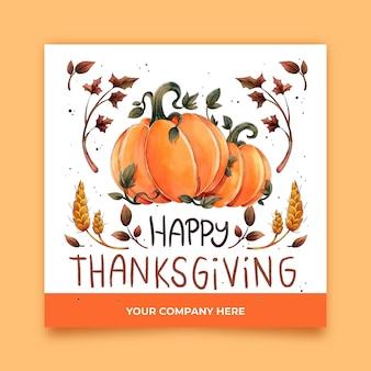 Aquarel thanksgiving instagram-berichten