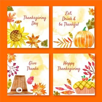 Aquarel thanksgiving instagram post collectie