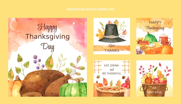 Aquarel thanksgiving instagram posts collectie