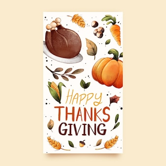 Aquarel thanksgiving instagram-verhalen