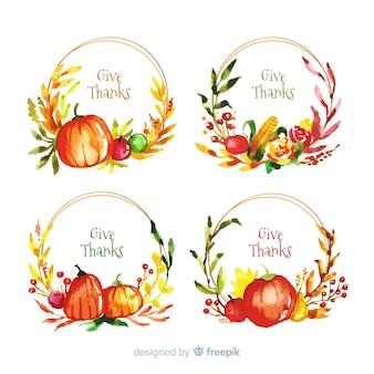 Aquarel thanksgiving label collectie