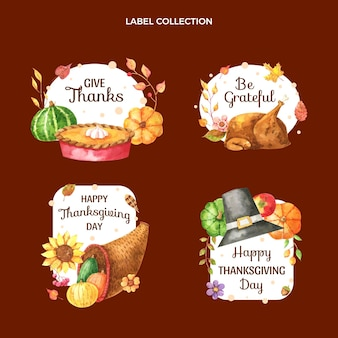 Aquarel thanksgiving labels collectie