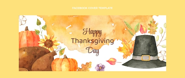 Aquarel thanksgiving sociale media voorbladsjabloon