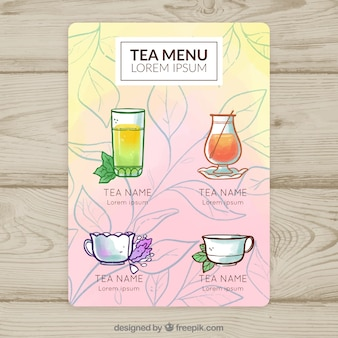Aquarel thee menusjabloon
