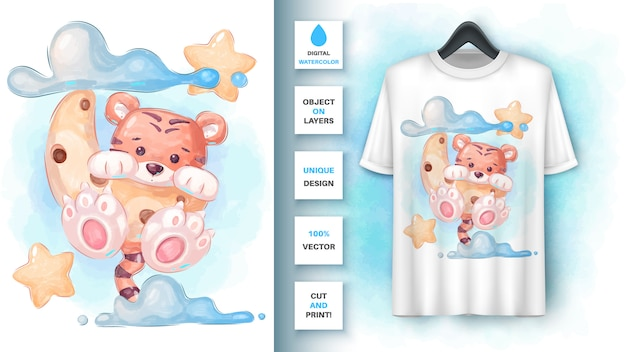 Aquarel tijger maan - poster en merchandising