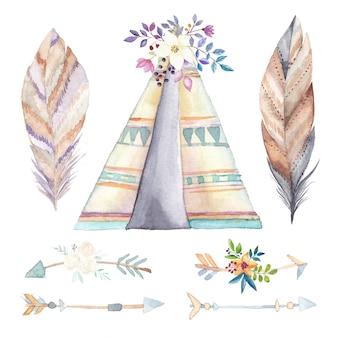 Aquarel tipi, etnische pijlen en bloemen instellen