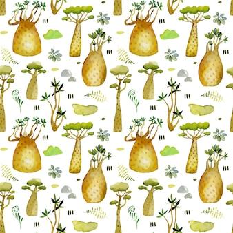 Aquarel tropische baobabs bomen naadloze patroon