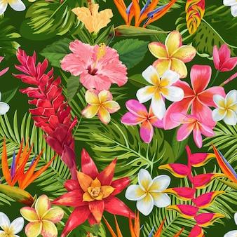 Aquarel tropische bloemen naadloze patroon. exotische bloeiende bloemen van plumeria