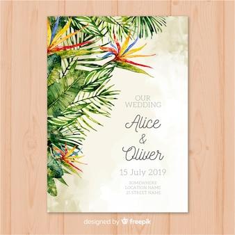 Aquarel tropische bruiloft uitnodiging