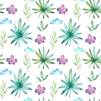 Aquarel tropische naadloze patroon
