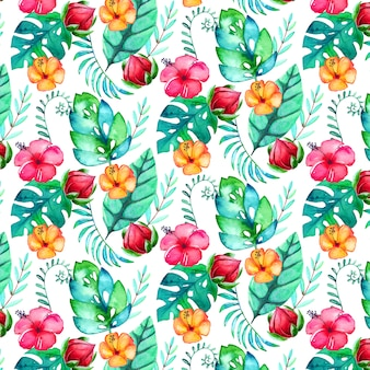 Aquarel tropische patroon