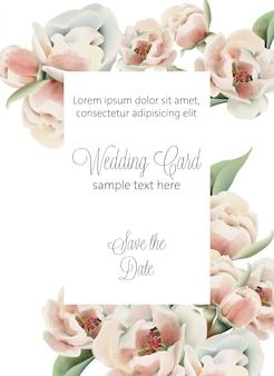 Aquarel trouwkaart met lichtroze pioenrozen en plaats voor tekst