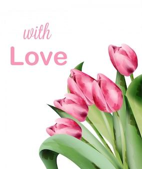 Aquarel tulp roze bloemen uitnodigingskaart met plaats voor tekst