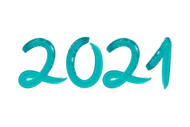 Aquarel turquoise penseelstreek nieuwe jaar 2021 achtergrond