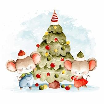 Aquarel twee kleine muisjes met kerstboom