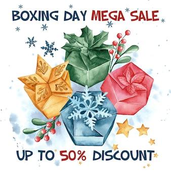 Aquarel tweede kerstdag verkoop met korting