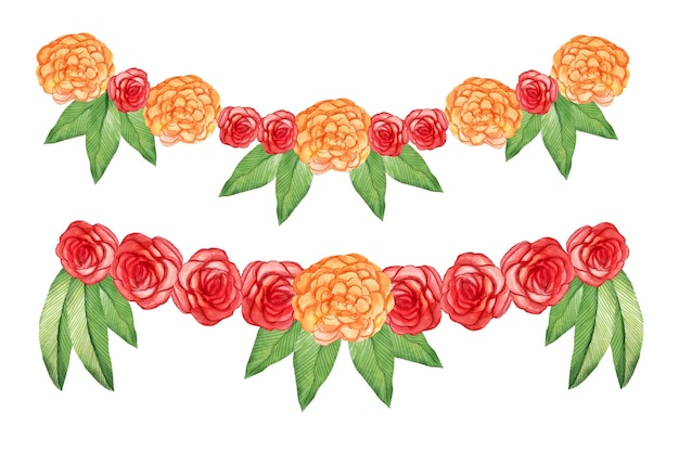 Aquarel ugadi garland illustratie