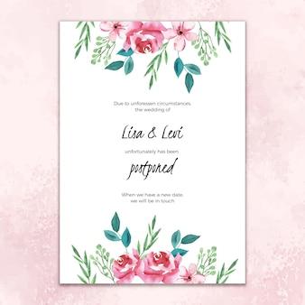 Aquarel uitgesteld bruiloft kaart met bloemen