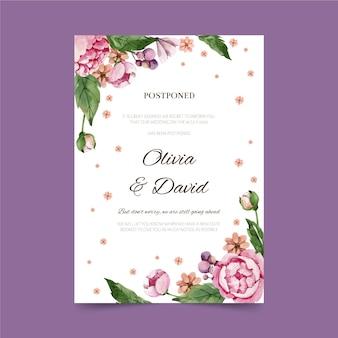 Aquarel uitgesteld bruiloft kaart