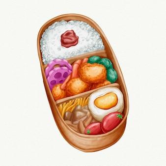 Aquarel umeboshi bento japanse lunchbox