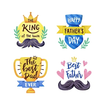 Aquarel vaderdag badges