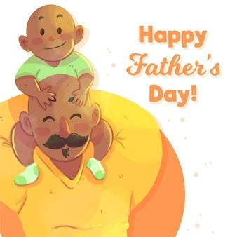 Aquarel vaderdag met vader en baby