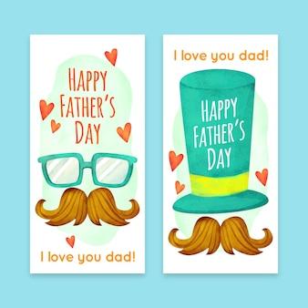 Aquarel vaders dag banners sjabloon