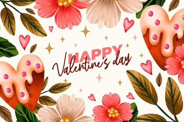 Aquarel valentijnsdag achtergrond met bloemen en groet Gratis Vector