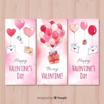 Aquarel valentijnsdag banner