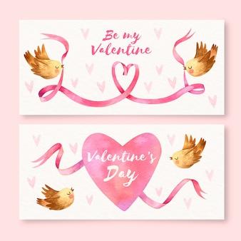 Aquarel valentijnsdag banners