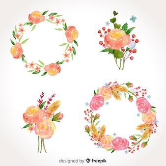 Aquarel valentijnsdag bloemenkransen & boeketten