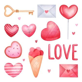 Aquarel valentijnsdag element collectie