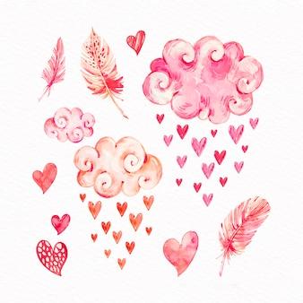 Aquarel valentijnsdag element pack