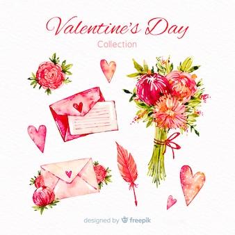 Aquarel valentijnsdag elementen collectie