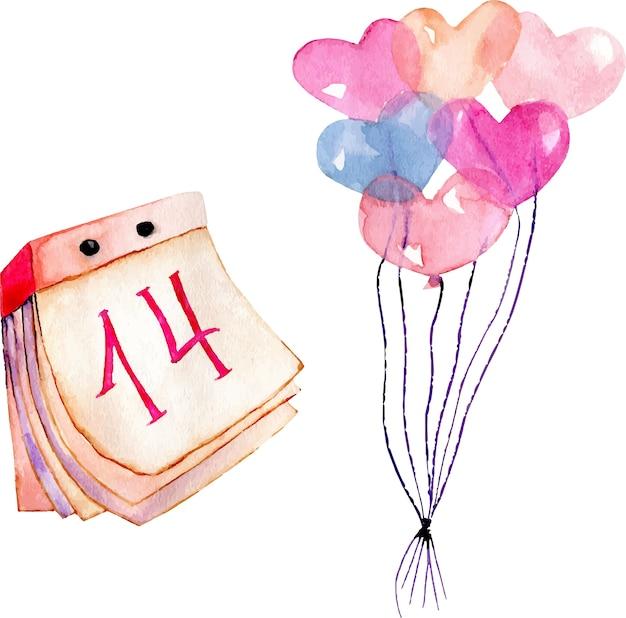 Aquarel valentijnsdag elementen set: hart lucht ballonnen en kalender